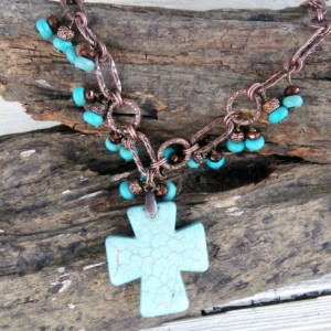 Western Cross Jewelry-Cowgirl Jewelry-Rodeo Jewelry-Western Necklace-Southwestern Jewelry-Turquoise Necklace-Rodeo Cross Necklace-Cowgirl