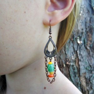 Boho Earrings-Copper Boho Jewelry-Gypsy Earrings-Bohemian Earrings-Tribal Earrings-Bohemian Jewelry-Hippie Earrings-Ethnic Earrings-Boho-