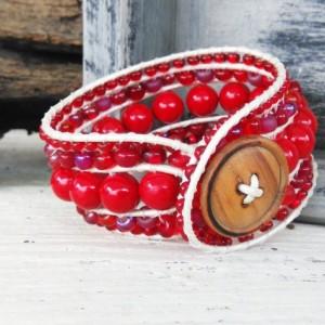 Beaded Wrap Bracelet-Red Gem Wrap Bracelet-Beaded Bracelet-Bracelet-Boho Wrap Bracelet-Boho Bracelet-Jewelry-Leather Wrap-Stretch Bracelet
