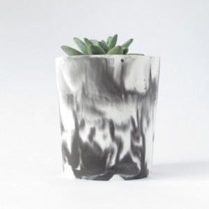 Tall Concrete Succulent Planter and Vase - White and Black Marbled Cement