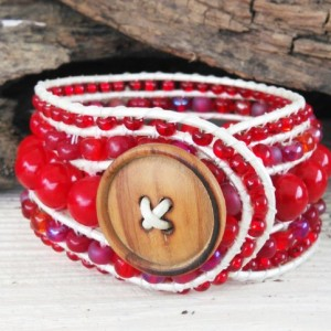 Beaded Wrap Bracelet-Red Gem Wrap Bracelet-Beaded Bracelet-Bracelet-Boho Wrap Bracelet-Boho Bracelet-Jewelry-Leather Wrap-Stretch Bracelet