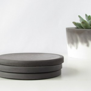 Black Concrete Coasters - Set of 3