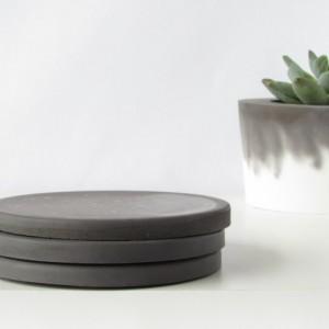 Black Concrete Coasters - Set of 3