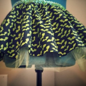 Lime Green Bat Halloween Running Skirt Tutu