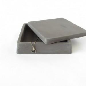 Concrete Trinket Box with Lid || Cement Jewelry Box