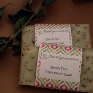 5 Bars Green Tea-Peppermint Soap Bastille Exfoliating Bulk Pack Handmade Organic Vegan