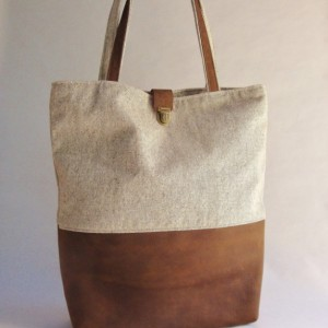 Leather and Tweed Canvas Tote