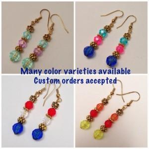 Red, White & Green Beaded Dangling Earrings, Gold Spacer Beads, Multicolor Flower Earings Trending Items Christmas Colors