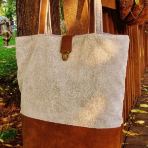 Grey Suede and Leather Tote