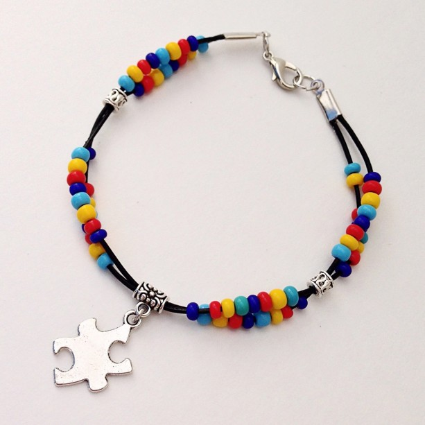 Autism Awareness Bracelet, Autism Beaded Leather Bracelet, Support Autism Puzzle Piece Charm, Asperger Syndrome Braclet ASD