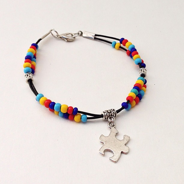 Asperger Autism Awareness Bracelet Beaded Leather Support Puzzle Piece Charm