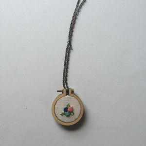 Hand Embroidery Floral Necklace Wooden Hoop Necklace Pink and Green Flower Pendant Statement Jewelry Under 50 Embroidered Jewelry