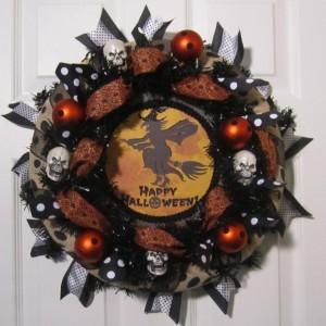 Halloween Black Polka Dots Burlap Wreath, Black polka dots Burlap Wreath, Halloween Orange polka dots Burlap Wreath, Black Burlap Wreath
