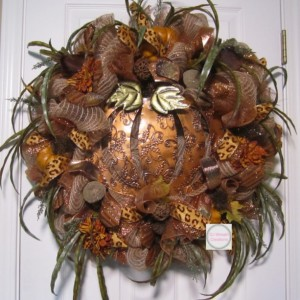Fall Copper Pumpkin Wreath, Fall Deco Mesh Cooper Pumpkin, Fall Deco Mesh Wreath Metal Pumpkin