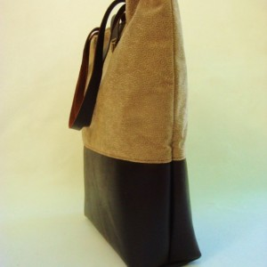 Leather and velvet tote
