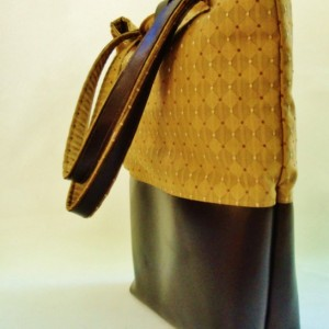 Golden Diamond Tote with Smooth Leather Base