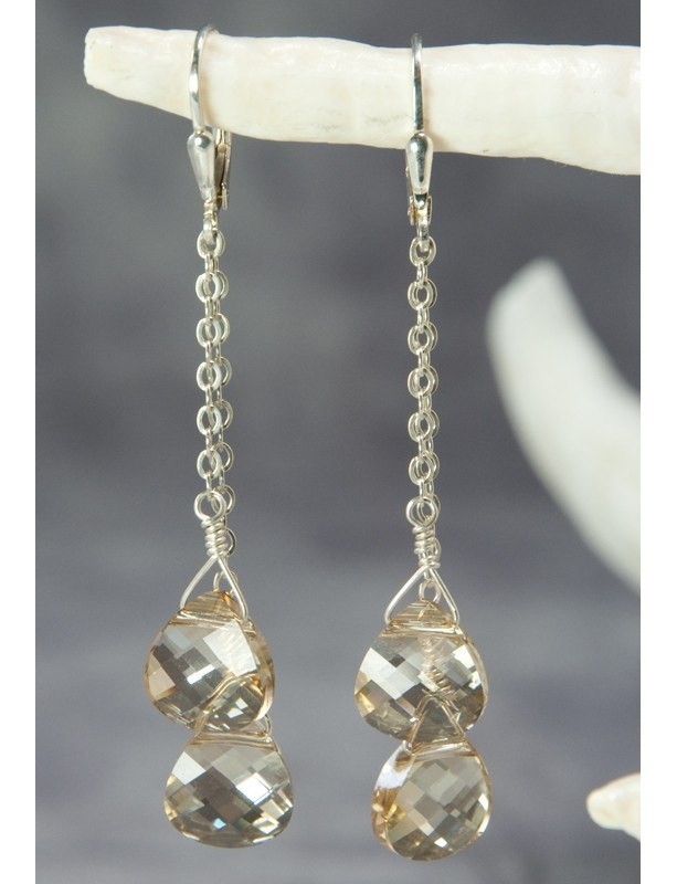 Golden Shadow Double Drop Earrings