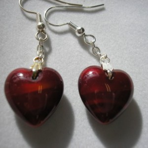Earring - Puffed Czech Glass Heart - VERY Red