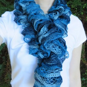 Teal Knitted Ruffle Scarf