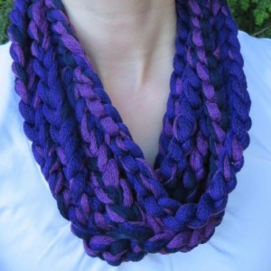 Purple/black rope scarf