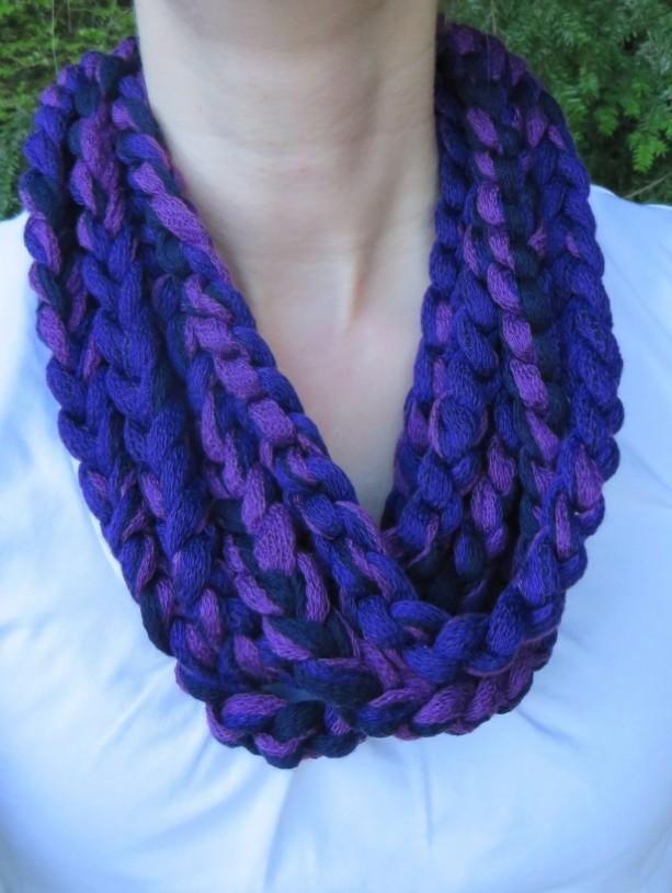 Purple/black rope scarf