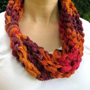 Fall color rope scarf
