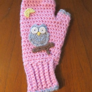 Pink Fingerless Gloves with Owls