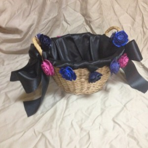 satin rose basket