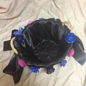 satin rose basket