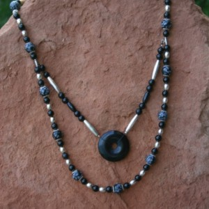Onyx & Snowflake Obsidian Necklace