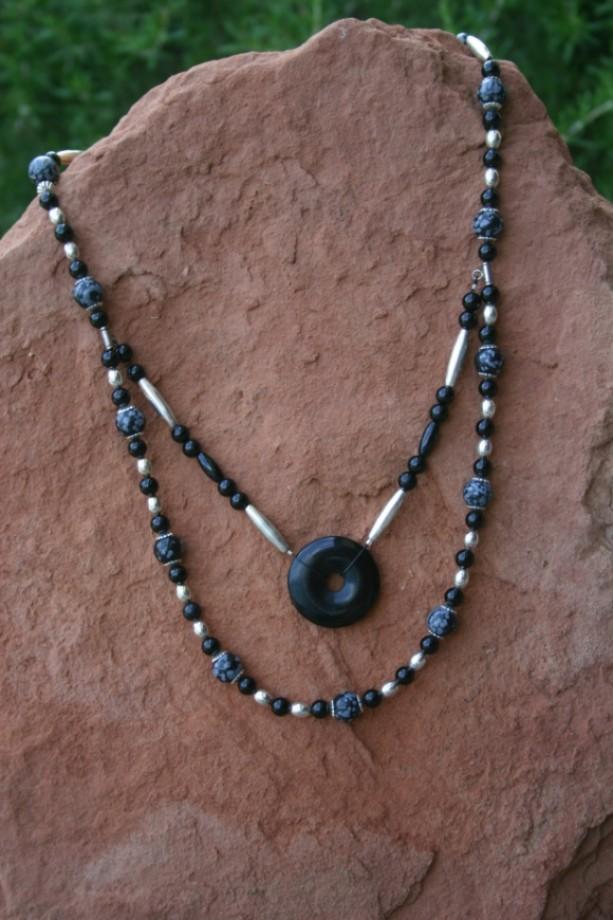 Onyx & Snowflake Obsidian Necklace