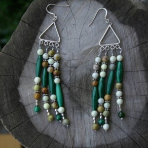 Malachite, Serpentine Earrings