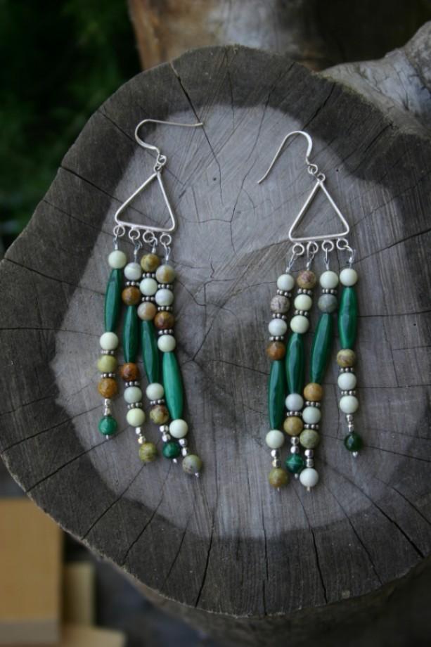 Malachite, Serpentine Earrings