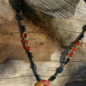 Carnelain & Dumortierite Pendent Necklace