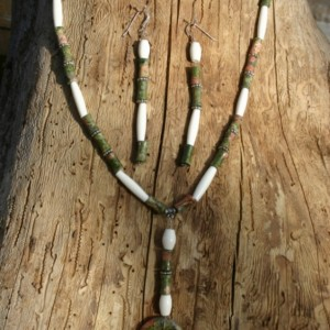 Unakite Gemstone Necklace & Earring Set