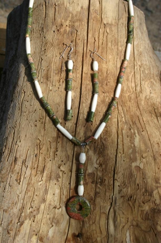 Unakite Gemstone Necklace & Earring Set