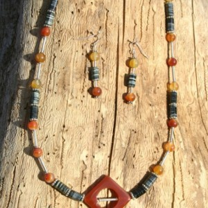 Carnelian Gemstone Necklace and Earrings