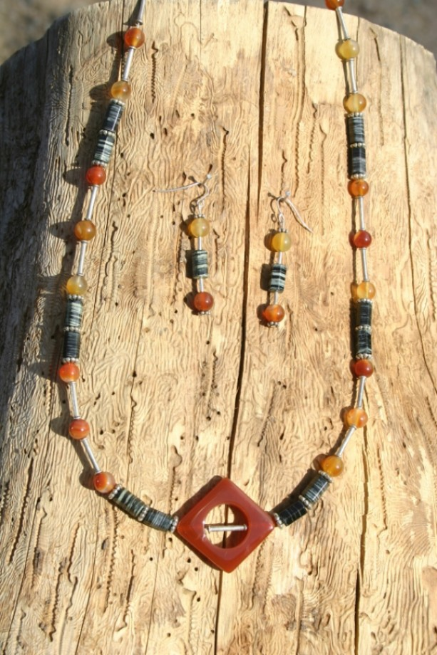 Carnelian Gemstone Necklace and Earrings