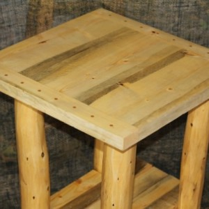 Rustic Log Breadboard Top End Table / Night Stand - Cabin, Lodge Log Furniture -FREE SHIPPING
