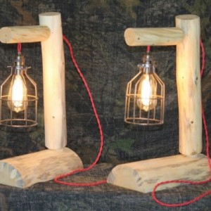 Rustic Log Lamps With Red Braded Antique Cords & 60 watt bulbs - Lodge, Western, Vintage, Log Cabin Furniture - FREE SHIPPING