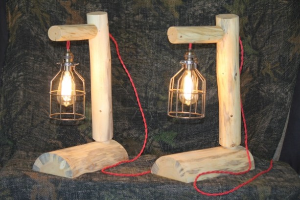 Beautiful Rustic Log Lamps With Red Braded Antique Cords U0026 60 Watt Bulbs   Lodge,  Western