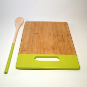 Medium Bamboo Cutting Board with Matching 14 inch Spoon - Citron Green