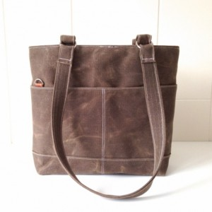 Shoulder Tote in Dark Oak Waxed Canvas with Orange Big Dot Lining - Adjustable Strap Included