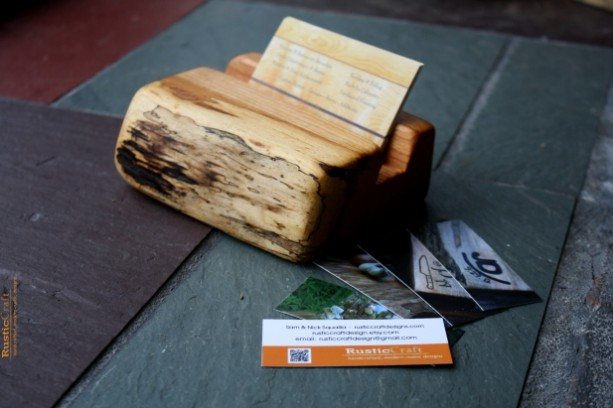 Wood Business Card Holder - Rustic live edges - Unique office gift, Dad gift, Husband Gift