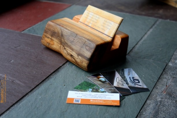 Wood Business Card Holder Rustic Live Edges Unique Office Gift Dad