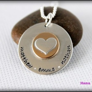 Sterling Silver Disc with Soldered Gold Filled Disc and Silver Heart Hand Stamped Necklace