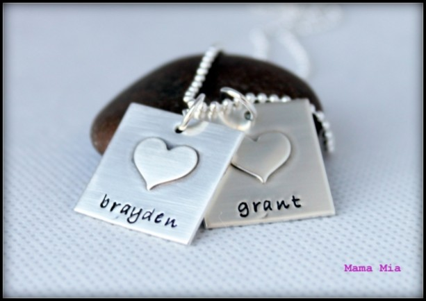 Sterling Silver Squares with Sterling Soldered Hearts Hand Stamped Necklace