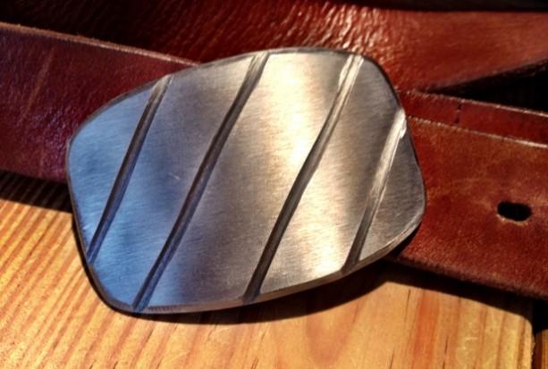 Diagonal Steel Belt Buckle by Cascade Metal Design