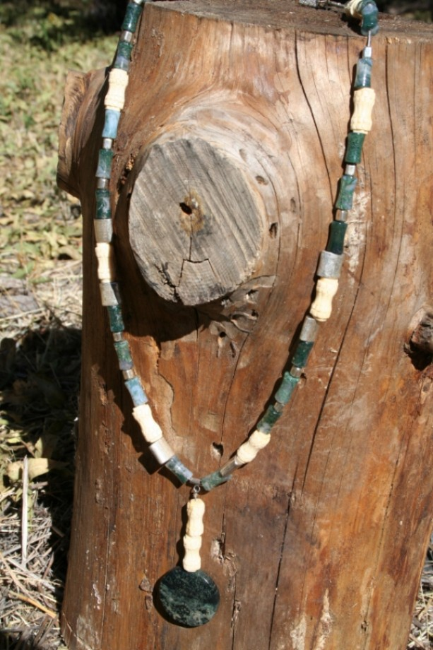 Moss Agate & Carved Bone Necklace