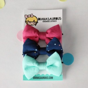 small hair bow set of three navy polka dots aqua fuschia pink